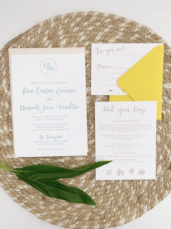 Teal and Yellow Wedding Invitations