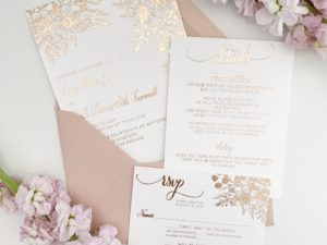 Rose Gold Wedding Invitation Sample