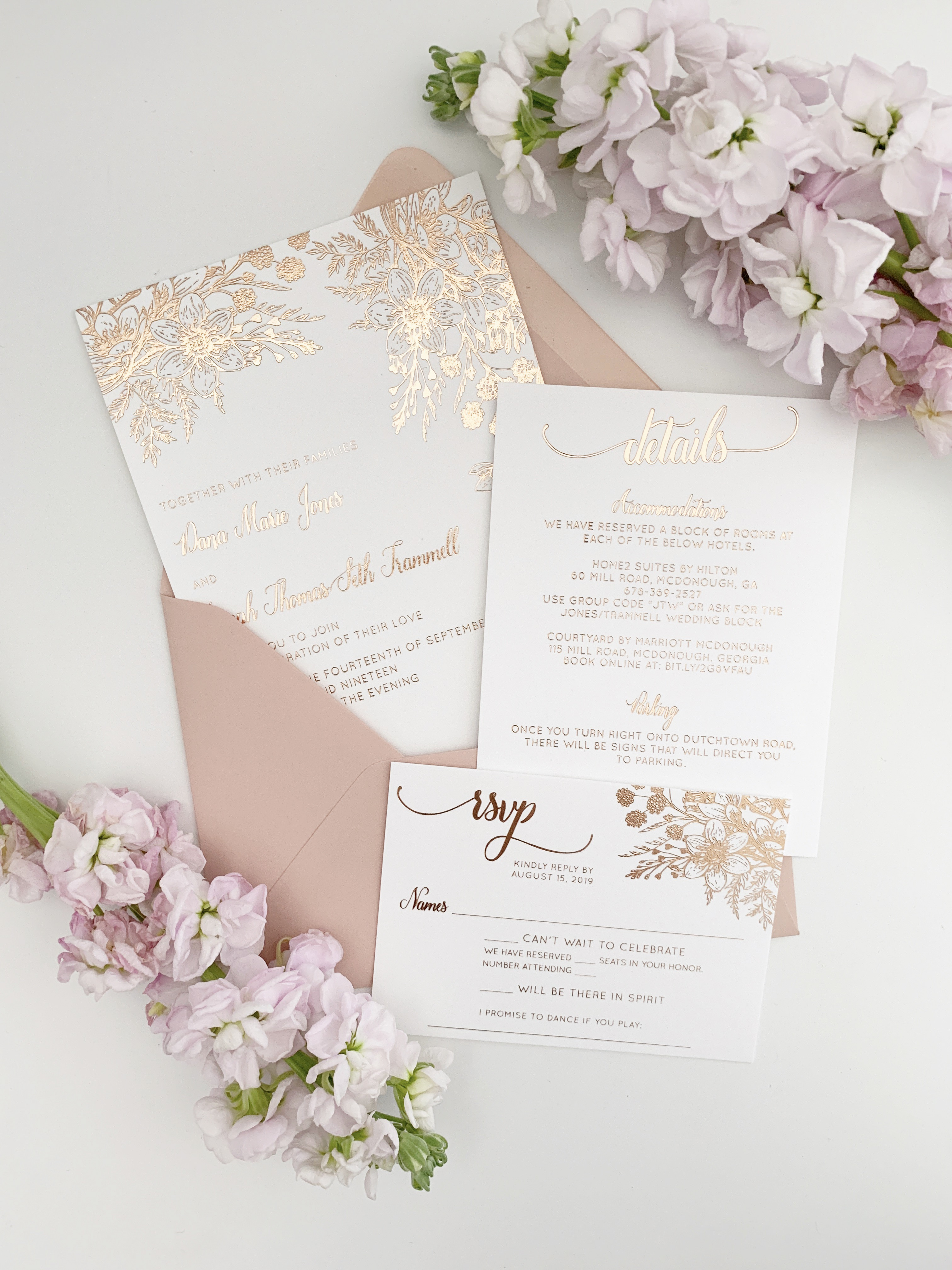 Rose Gold Wedding Invitations With Foil Florals Oh My Designs