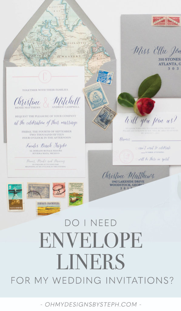 Travel Themed Wedding Invitations with a map envelope liner