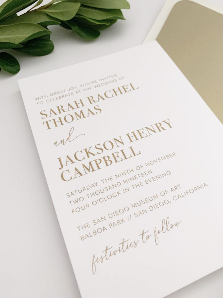 Gold Thermography Wedding Invitations