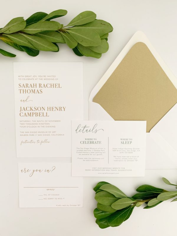 Modern Thermography Wedding Invitations