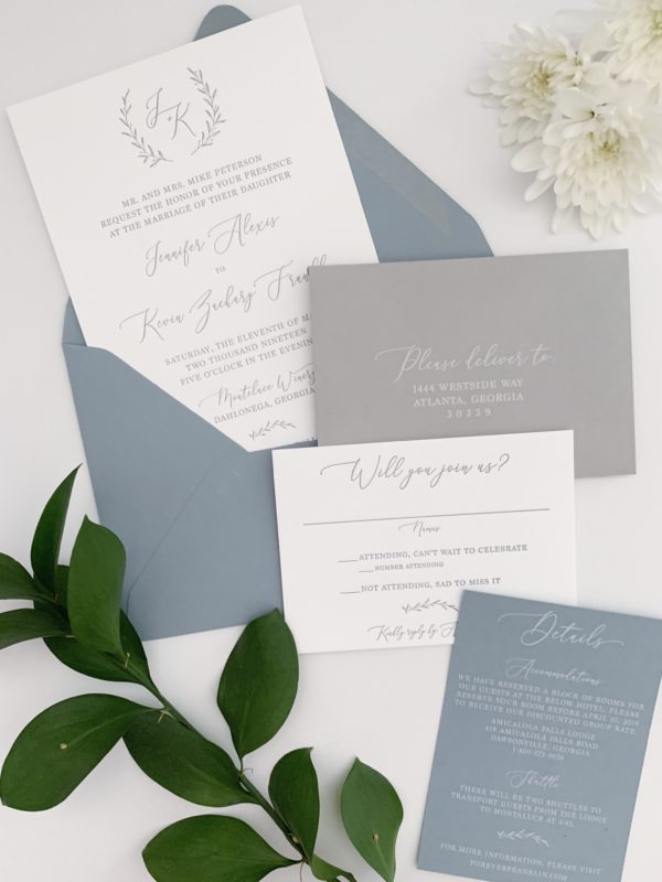 Blue Grey Wedding Invitations