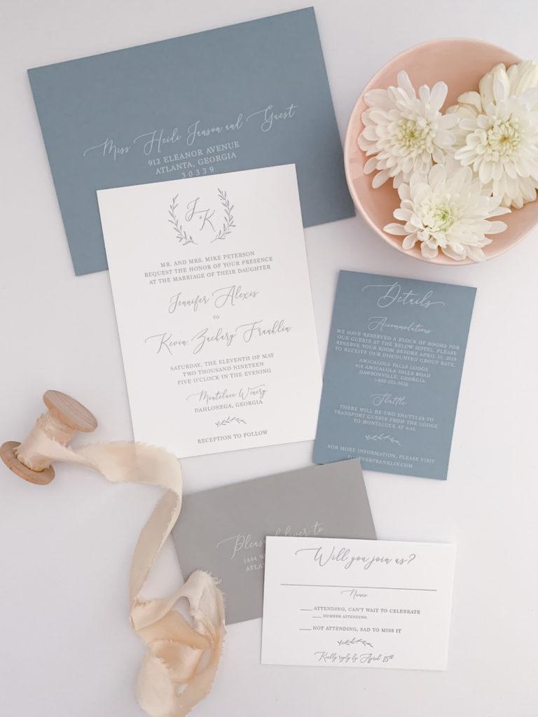 Letterpress Wedding Invitation Suite Main Invite and Envelopes 50 Pieces