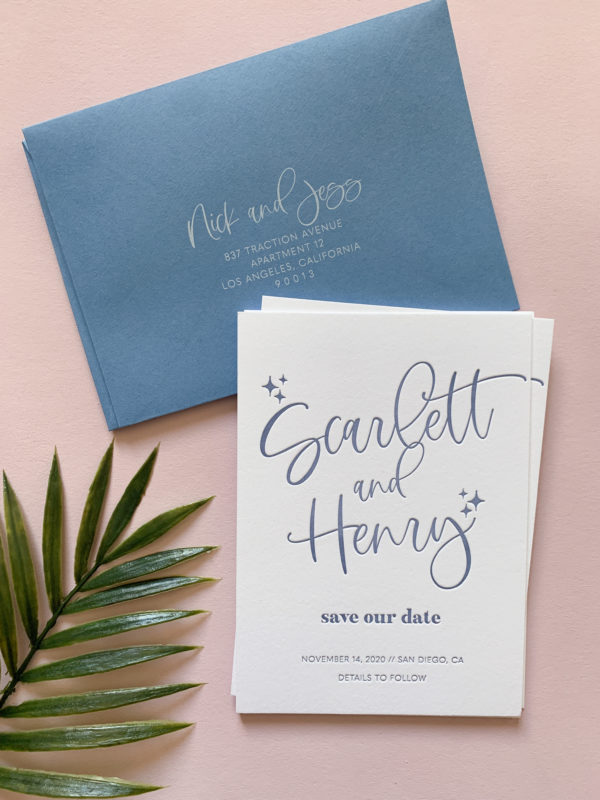 Dusty Blue Save the Dates