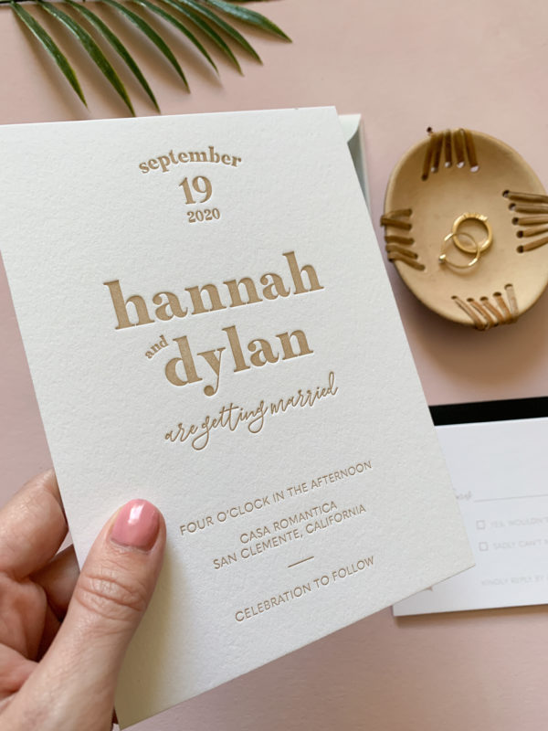 Taupe Letterpress Invitations