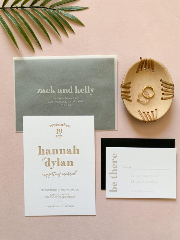Letterpress Invitations with Vellum Envelopes