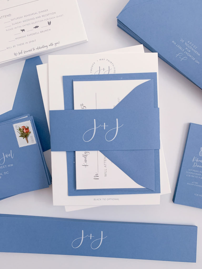 Monogram Wedding Invitations with printed blue belly band