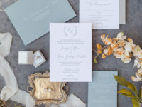Dusty Blue and Grey Wedding Invitation