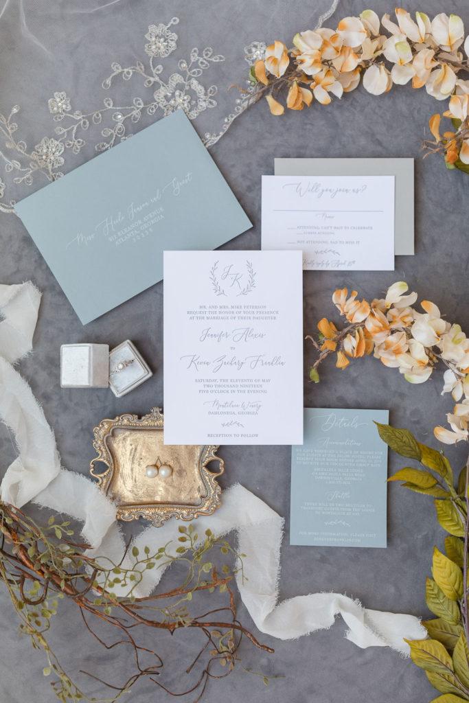 Dusty Blue and Grey Wedding Invitation