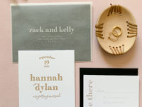 Modern Letterpress Wedding Invitations with Taupe Ink and Vellum Envelopes