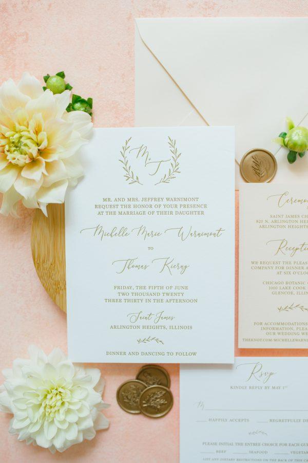 Blush and Gold Letterpress Monogram Wedding Invitation