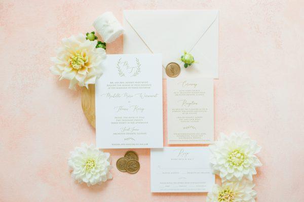 Gold and Blush Wedding Invitation Monogram