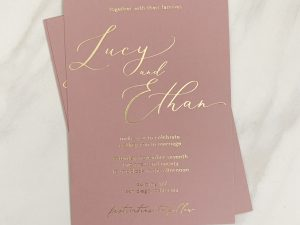 Dusty Rose and Gold Foil Romantic Wedding Invitation