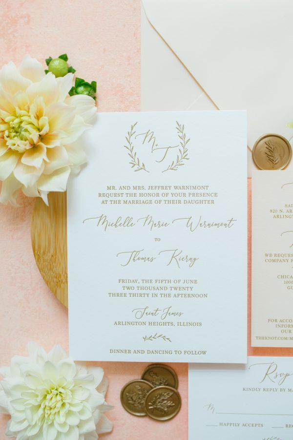 Monogram Letterpress Wedding Invitations