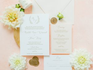 Monogram Wedding Invitation Blush and Gold