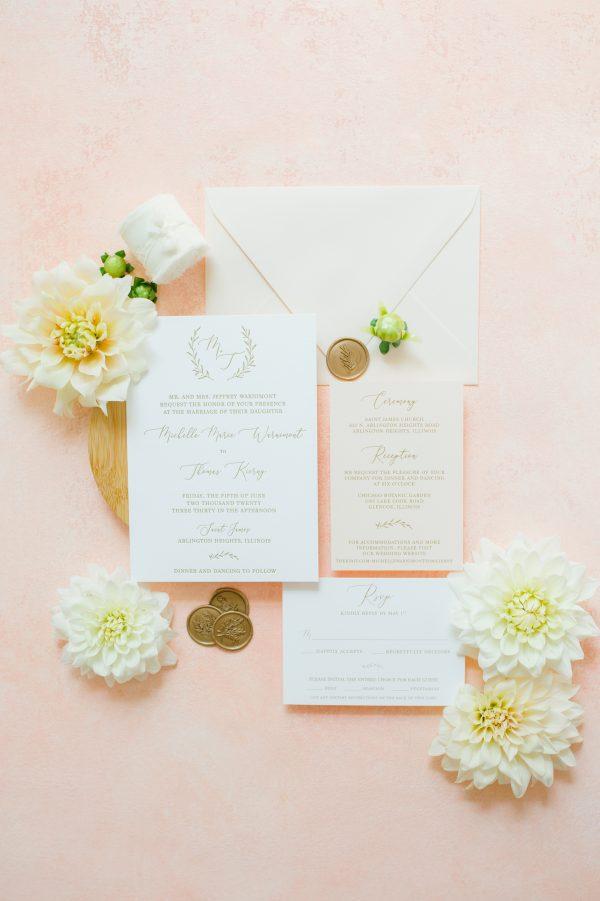 Monogram Wedding Invitation Blush and Gold